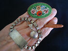 VINTAGE STERLING SILVER & OTHER, 2 SIGNED PENDANT BRACELET MICRO MOSAIC PIN, LOT