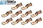 """10 Lot 1/0 Ring 5/16"""" Hole Terminal Lug Bare Copper Uninsulated AWG Gauge"""