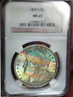 1879-S NGC MS 65 Morgan - Bag & cheek Textile Rainbow Tone with Money Colors