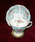 ROYAL ALBERT ENGLAND PINK ROSES BLUE PANEL CLAUDETTE tea cup saucer with stand