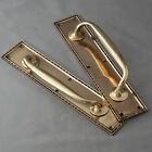Pair 1920's Rose Brass Door Pull Handles