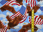 Eagles Soaring American USA Flags on Sky Blue Stars BY YARDS TT Cotton Fabric
