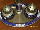 VINTAGE METAL TRAY WITH 2 SHAKERS & TOOTHPICK HOLDER FROM THAILAND