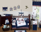 UNIQUE DISCOUNT RED BLUE WHITE VINTAGE AIRPLANE PLANES BABY BOY CRIB BEDDING SET