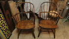 antique pair Windsor arm chair spindle hoop back,  bentwood captain winsor