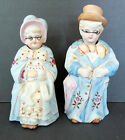 Pair Of Antique Victorian German Bisque Nodder Figurines Fairings Or Bobbleheads
