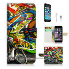 ( For iPhone 6 / 6S ) Wallet Case Cover! Graffiti and Motocycle P0144