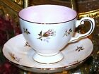 TUSCAN TEA CUP AND SAUCER GOLD GILT PINK ROSE SPRAY WHITE PINK TEACUP