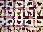 Farm Animals Quilt Cotton Squares Red White Check Horse Sheep Rooster ½yd