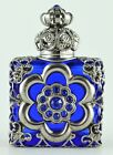 Vintage Blue Hand Made Vanity Perfume Oil Bottle Silver Tone W Crystals