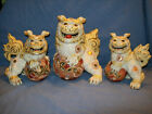 Rare Antique Kutani Lion Dog Figurines Set of 3