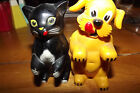 Vintage Plastic Ken L Ration Black Cat & Yellow Dog Salt & Pepper Shakers 1950's
