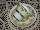 SALE! Royal Stafford Teacup and Saucer BONE England VINTAGE Corset FOOTED Yellow