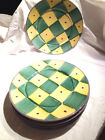 Lot of THREE Pottery Barn Sunnyside Green/Yellow Purple Dots Dinner Plate 11