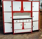 Antique  Early Large Old Hoosier with Flour Sifter Cupboard Cabinet!! Red white