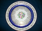 Edwin Knowles Charger Plate Semi Vitreous 22 K Gold Bouquet with Blue