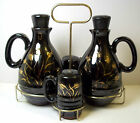 Vintage 1950s Japanese redware cruet set with caddy Black gold wheat details