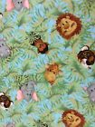 New Yard of Jungle Babies Flannel Fabric 100% Cotton