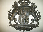 Vintage cast iron heraldry royal double lion family crest wall decoration