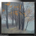 Original Painting Artwork Oil Canvas Forest Twilight Gray Mood Autumn GeeBeeArt
