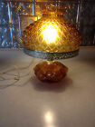 Vtg Amber quilted western lamp swag / table retro brown