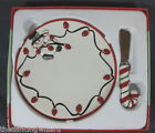 Fitz Floyd Cheers Snowman Snack Plate with Spreader Christmas  6 1/2