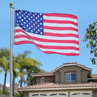 25Ft Aluminum Sectional Flagpole Kit Outdoor Halyard Pole + 1PC US American Flag
