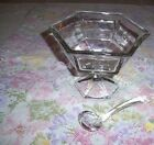 VTG OCTAGON SHAPE CLEAR GLASS PEDESTAL SERVING DISH WITH MATCHING GLASS SPOON