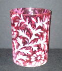 CRANBERRY OPALESCENT GLASS DAISY AND FERN TUMBLER