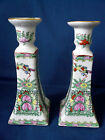 Hand Painted Porcelain ~ Famille Rose Style ~ CANDLESTICKS floral candle holder