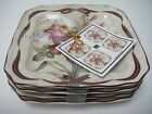 222 FIFTH YULETIDE AMARYLLIS SQUARE APPETIZER PLATES S4