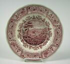 Staffordshire Red Transferware Clyde Scenery large Soup Plate Antique circa 1835