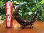 ANTIQUE JAPANESE CRESCENT MOON TEMPLE CANDLEHOLDER / INCENSE BURNER / OKIMONO