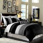 8pc Faux Silk Pleated Black, Grey, White Modern Comforter Set, Queen/King