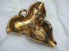 Stangl Pottery Black 22k Gold Hand Painted Three Petal Leaf Design Dish No. 5146