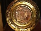 Vtg Solid Pierced Brass Wall Plate Large Plaque Metallic Foil Art England  #2