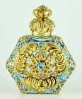 Gold Tone Filigree Vintage Jeweled Flower Blue Crystal PERFUME BOTTLE Hand Made