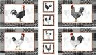 Quilt Fabric by the Panel #9148 Red Rooster Black Tie Boogie Panel of Roosters