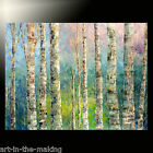 SPRING summer BIRCH huge ORIGINAL forest PAINTING art TATIANA aspen LANDSCAPE
