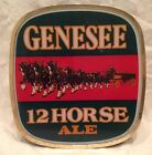 Vintage GENESEE 12 HORSE ALE Collectible Plastic LIGHT-UP Beer Bar WALL SIGN