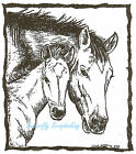 Horse Mare And Foal In Rectangle Wood Mounted Rubber Stamp NORTHWOODS M6880