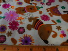 Snuggle Flannel BTY Whimsical Dogs on Beige Flowers 100 Cotton