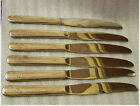 Set of 6 Community Queen Bees Pattern Silver Plated Handles TABLE KNIVES 9in