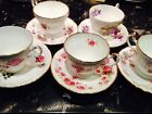 (5) ASSORTED FLORAL BONE CHINA TEACUPS AND SAUCERS / Made In England