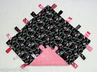 Handcrafted Flannel Hello Kitty  Pink Minky Taggie Snuggle Tag Security Blanket
