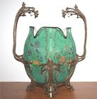Antique Austrian porcelain vase green and decorated with gold has a brass stand