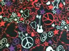 Rock Roll GUITARS Peace Sign, heart, stars FLEECE FABRIC 60