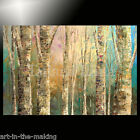 palette knife PAINTING BIRCH wood forest ORIGINAL winter FALL colors art TATIANA