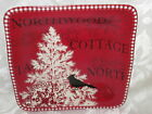 222 FIFTH NORTHWOOD COTTAGE TOILE CHRISTMAS SALAD DESERT  PLATES SET OF 4 NEW