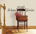 Quote ALL BECAUSE TWO PEOPLE FELL IN LOVE wall stickers decor 23 decal romantic